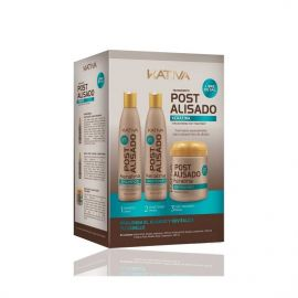 KIT POST-ALISADO KERATINA Y ARGAN KATIVA 3 x 250 ml