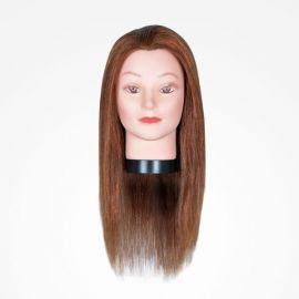 """MANIQUI GIRL BROWN 45cm 17.7"""" CASTAÑO 3B BIFULL CABELLO 30% HUMANO"""