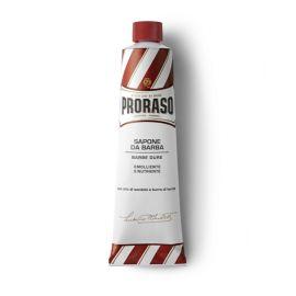CREMA AFEITAR EN TUBO PRORASO LINEA ROJA BARBA GRUESA Y DURA SANDALO & KARITE 150 ml